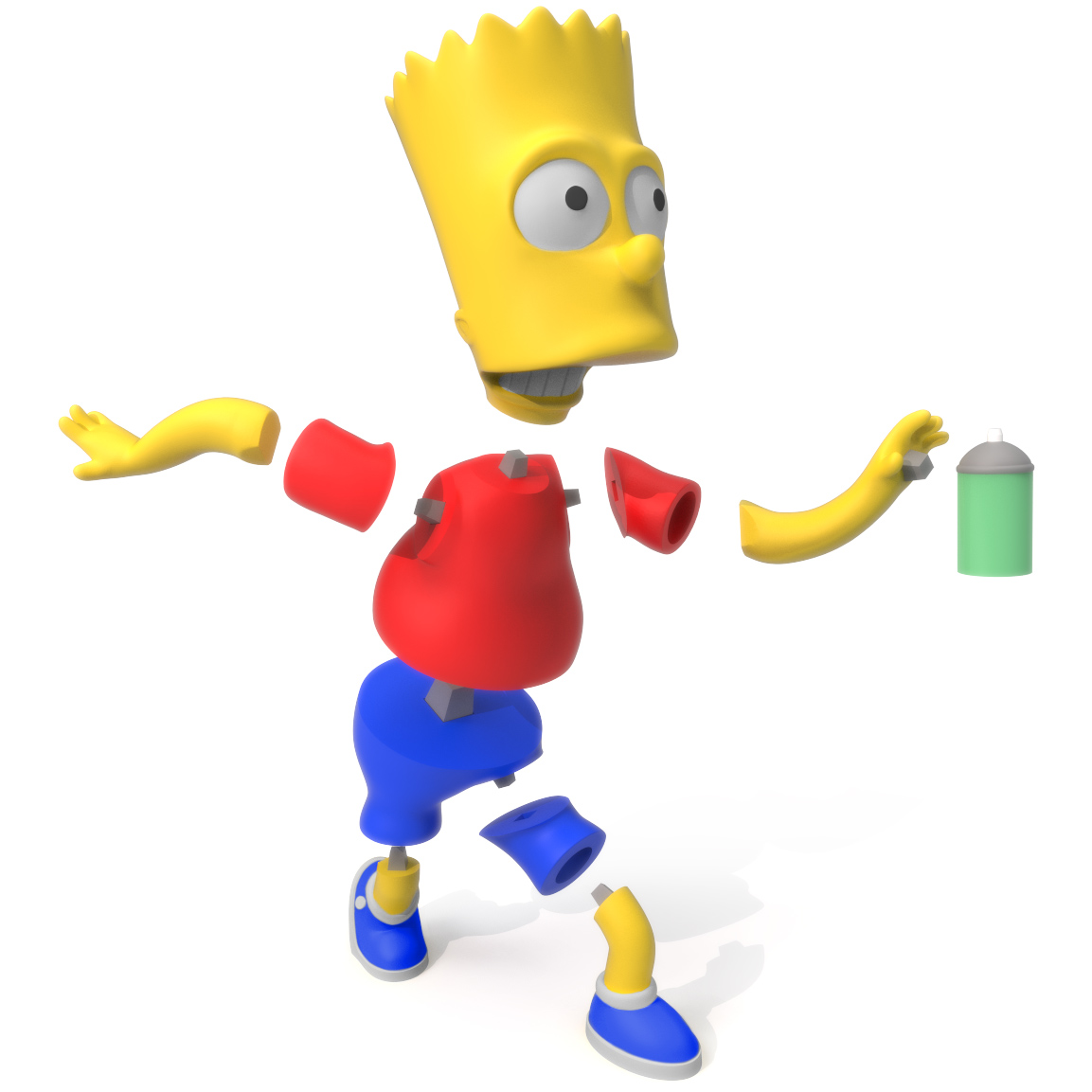 Bart Simpson Exploded, 3D Printer Models