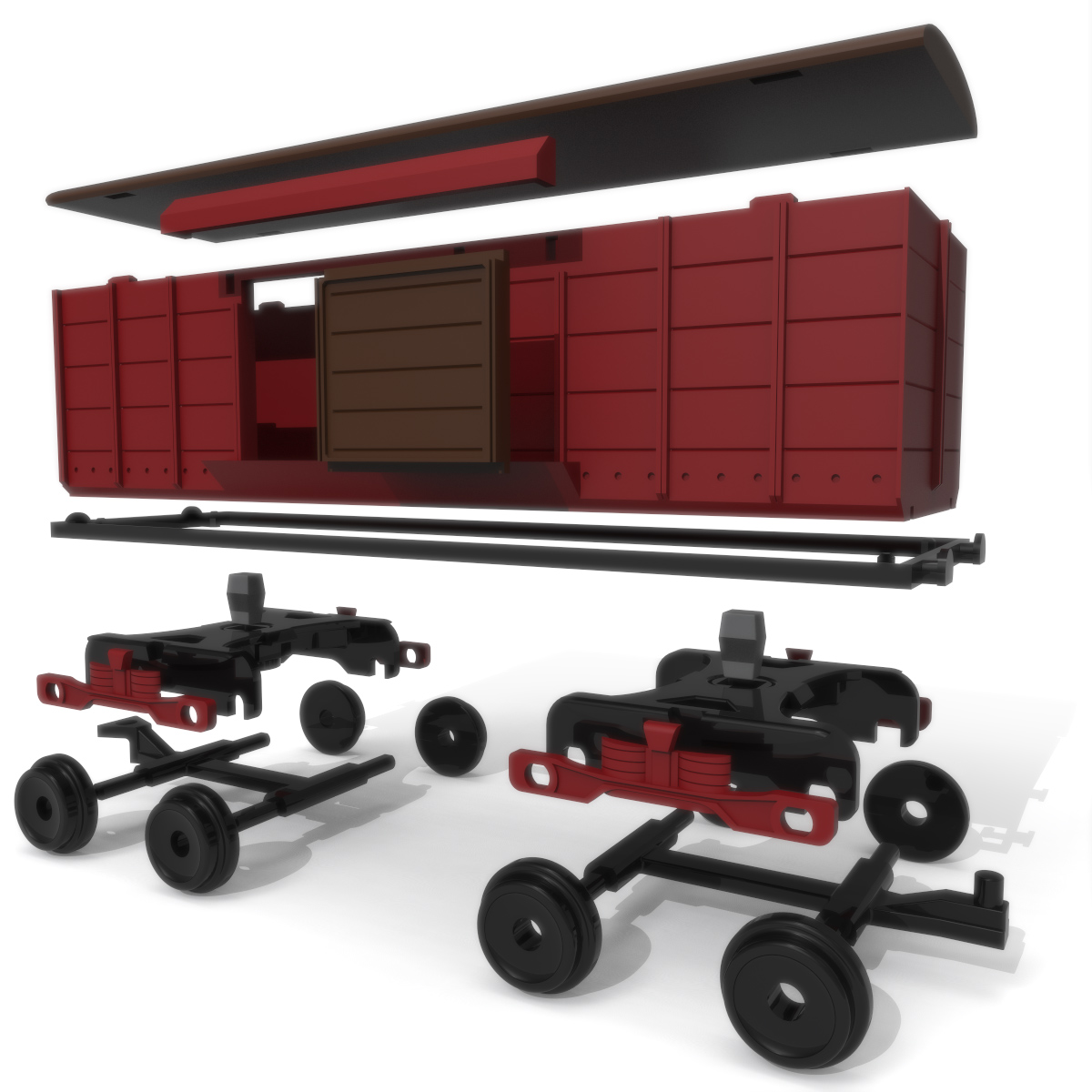 Freight Wagon Exploded, 3D Printer Models