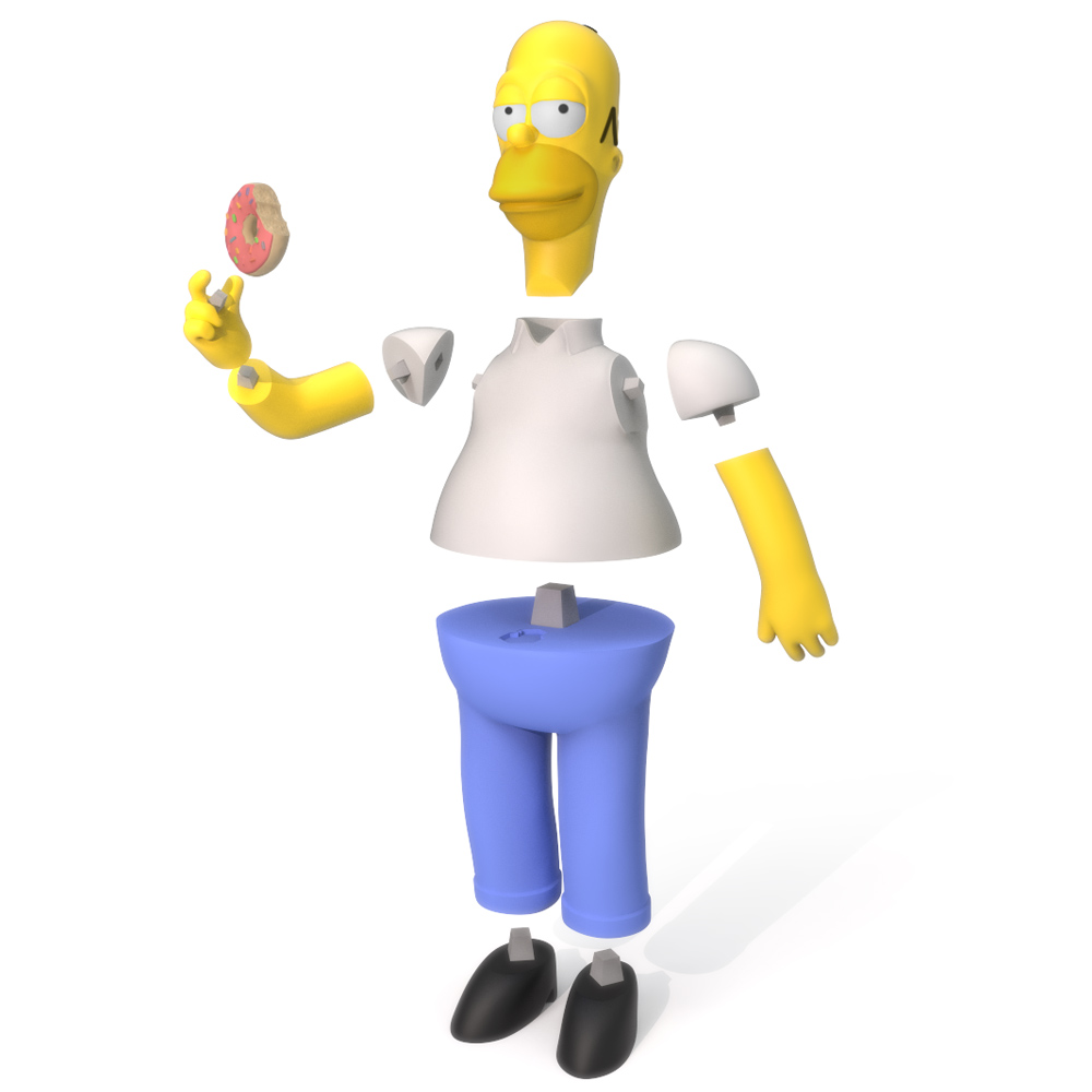 Homer Simpson Exploded, 3D Printer Models