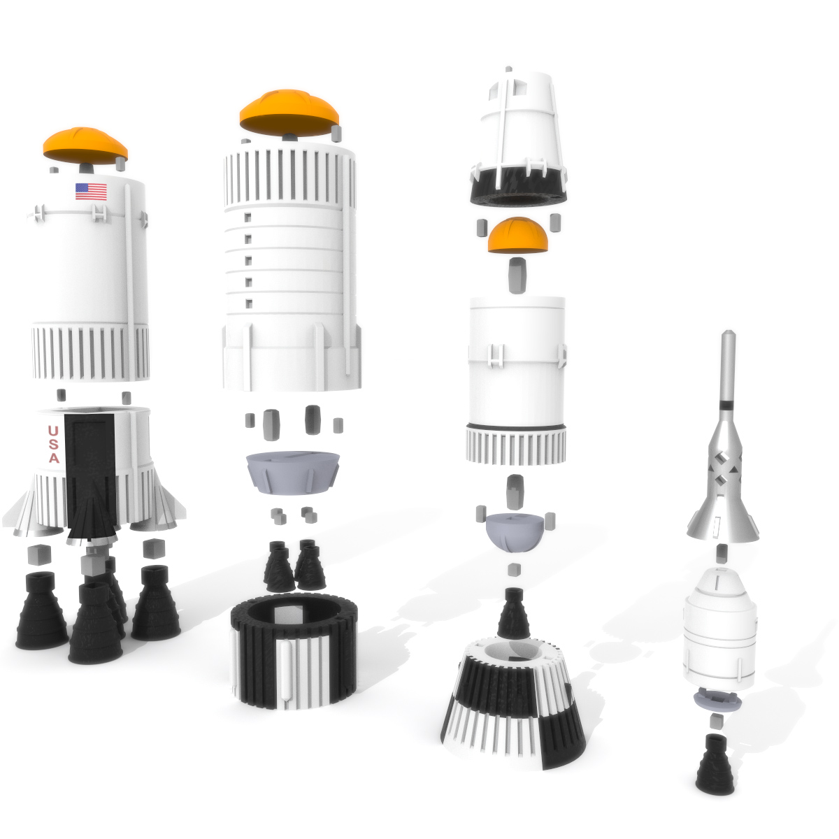 Saturn V Rocket Exploded, 3D Printer Models