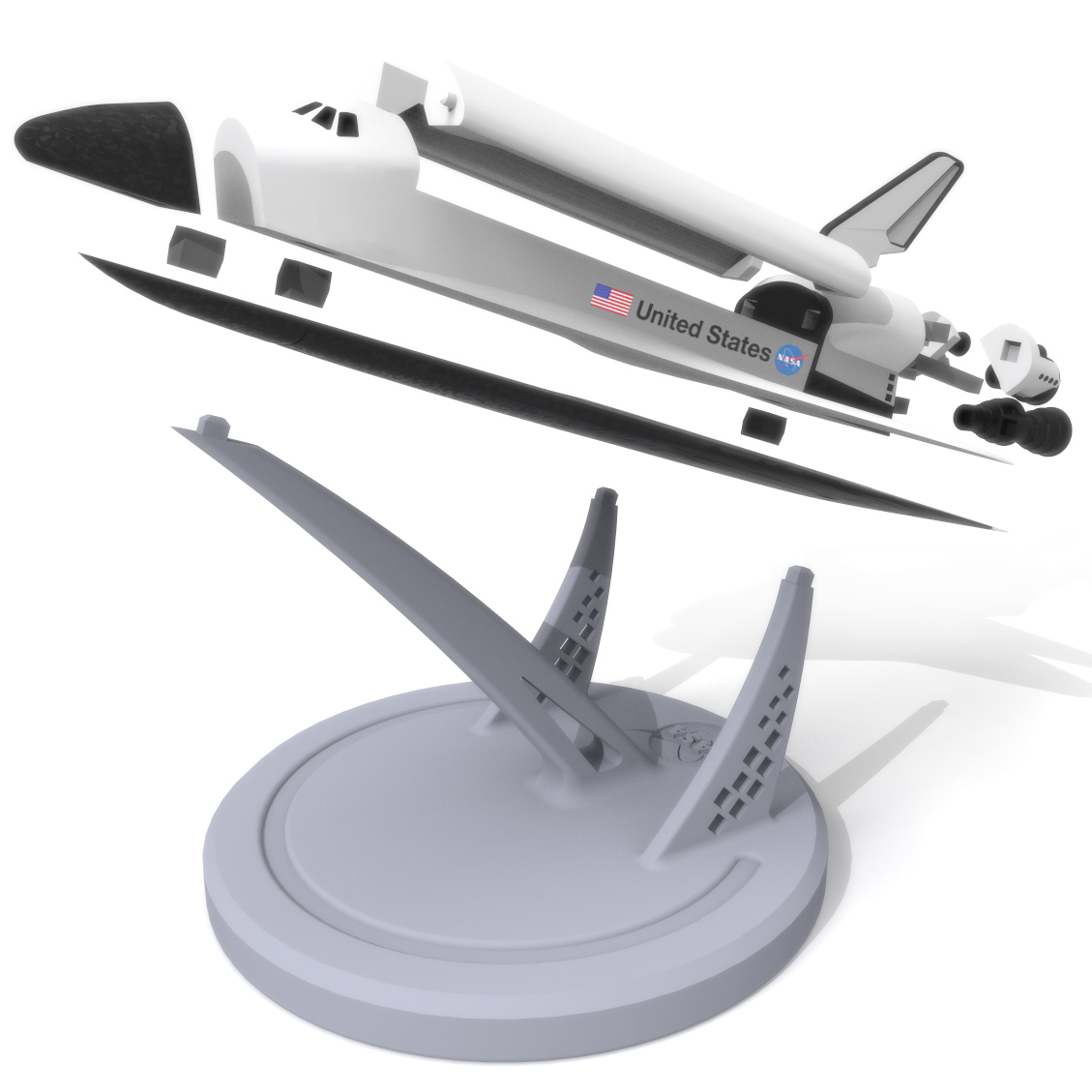Space Shuttle Atlantis Exploded, 3D Printer Models