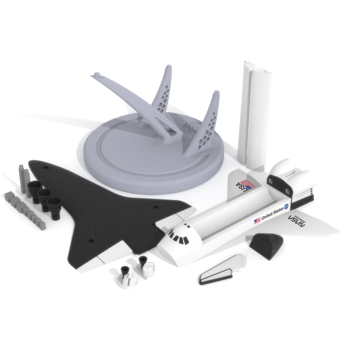 Space Shuttle Atlantis Print Bed, 3D Printer Models