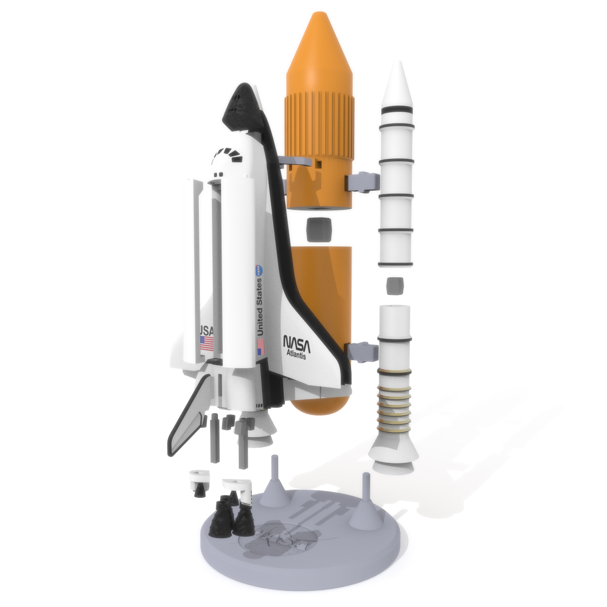 Space Shuttle Discovery Exploded, 3D Printer Models